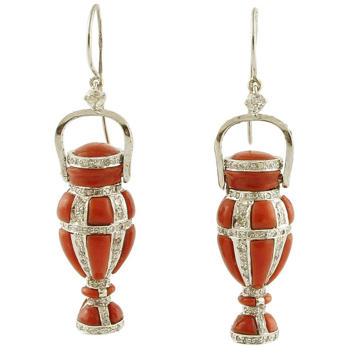 Red Coral, Diamonds, 14 Karat White Gold Amphoras-Shape Dangle Earrings