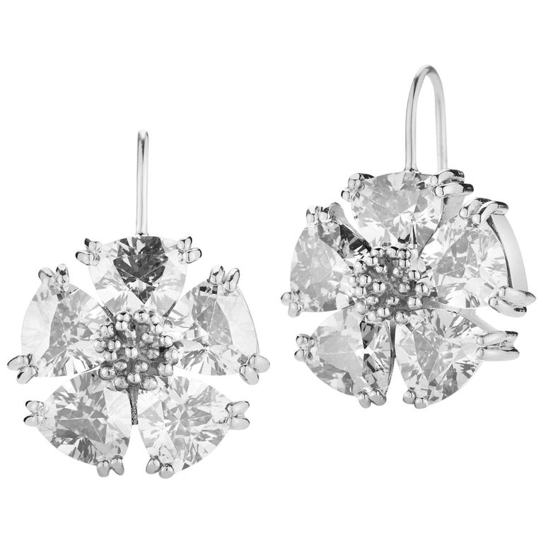 white sapphire blossom stone wire earrings at 1stdibs