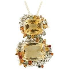 Diamonds, Emeralds, Sapphires, Pearls, 14 Karat Gold, Double Citrine Pendant