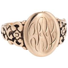 Antique Signet Ring 10 Karat Rose Gold Victorian Oval Mount Vintage Fine Jewelry