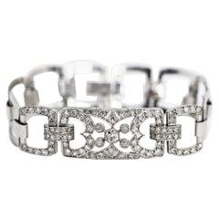 Diamond Set Platinum Link Bracelet, circa 1920s