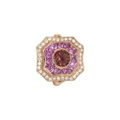 14 Karat Rose Gold Pink Sapphire, Tourmaline and Diamond Ring