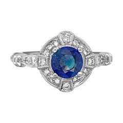 18 Karat White Gold 1.10 Carat Sapphire and Diamond Ring