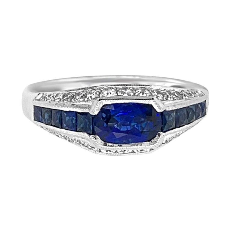 18 Karat White Gold 1.50 Carat Sapphire and Diamond Ring For Sale
