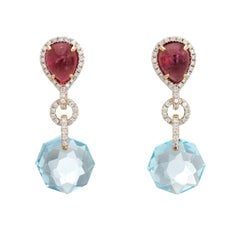 Estate Diamond Earrings Pink Tourmaline Blue Topaz 18 Karat Gold Drop Jewelry