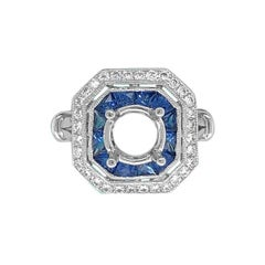 14 Karat White Gold 1.30 Carat Sapphire and Diamond Ring Mount