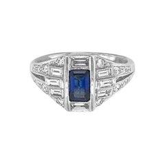 18 Karat White Gold .70 Carat Sapphire and Diamond Ring