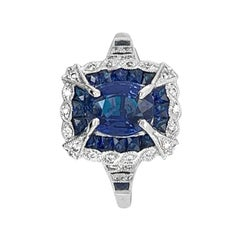18 Karat White Gold 1.80 Carat Sapphire and Diamond Ring