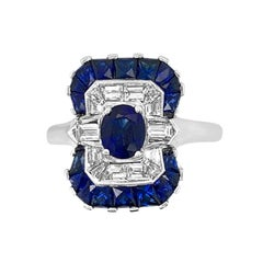 18 Karat White Gold 2.30 Carat Sapphire and Diamond Ring