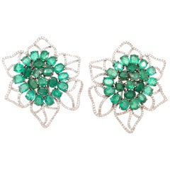 Ruchi New York Emerald and Diamond Flower Stud Earrings