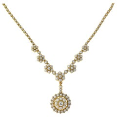 Victorian English Natural Pearl and Diamond Removable Pendant Necklace in Box