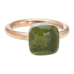 Pomellato Nudo Peridot Ring 18 Karat Yellow Gold Estate Fine Jewelry