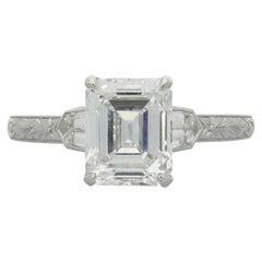 Hancocks 2.02 Carat D VS2 Emerald Cut Diamond Solitaire Bullet Diamond Ring