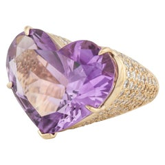 Heart Shaped Amethyst and Diamond Ring in Yellow Gold