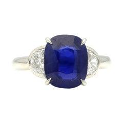 Hancocks Cushion Cut Ceylon Sapphire Ring with Half Moon Diamond Shoulders