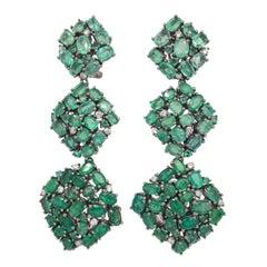 Ruchi New York Gradient Emerald and Diamond Drop Chandelier Earrings