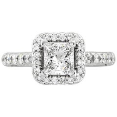 1.02 Carat EGL Radiant Cut Diamond Halo Engagement Ring