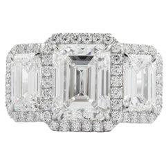 5.31 Carat Three-Stone Emerald Cut Diamond Ring Platinum