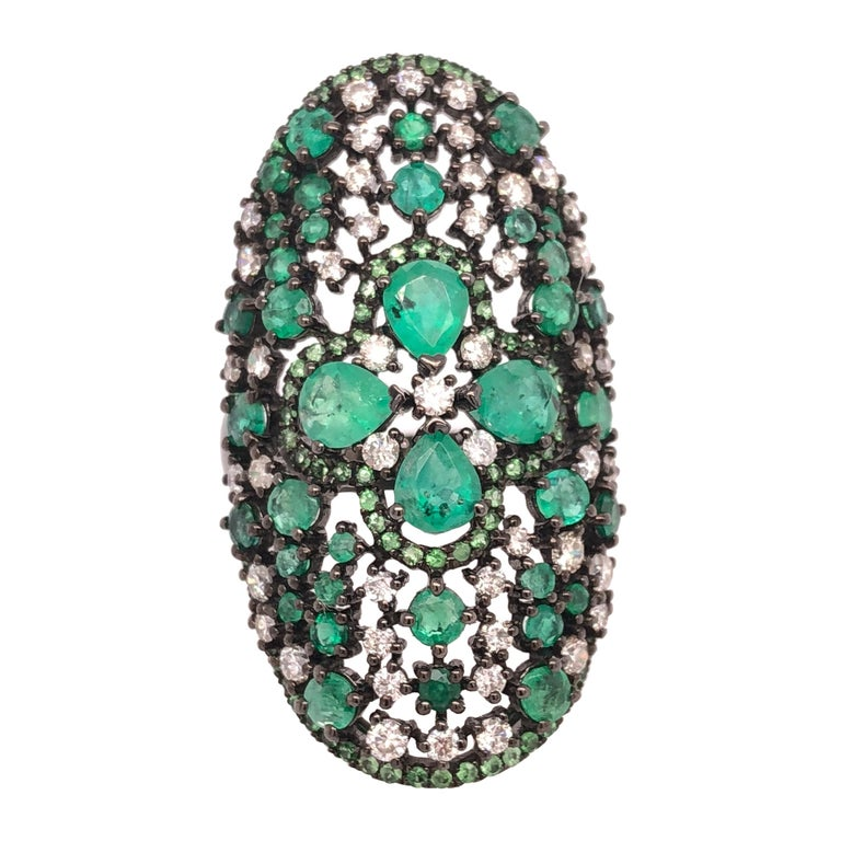 Ruchi New York Emerald, Diamond and Green Garnet Cocktail Ring For Sale