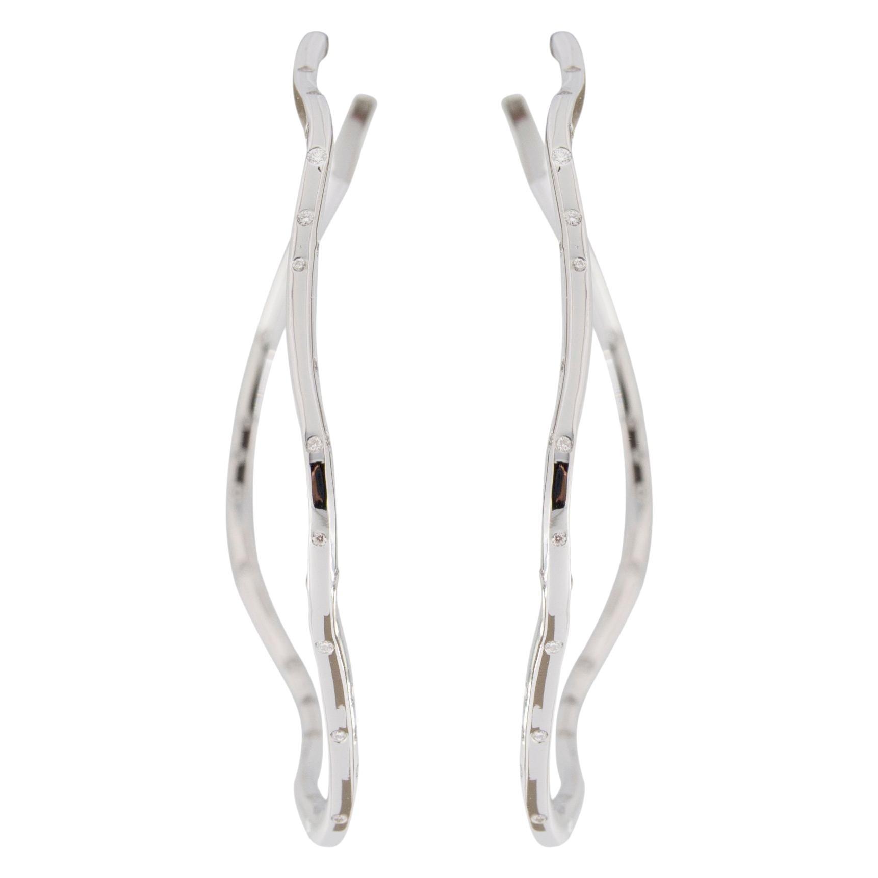 Jona White Diamond 18 Karat White Gold Hoop Earrings