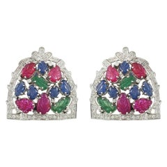 Set in 18 Karat Gold Carved Emerald Ruby and Sapphire Tutti-Frutti Stud Earrings