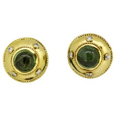 18 Karat Gold Ladies Stud Earrings with Natural Green Tourmaline and Diamonds