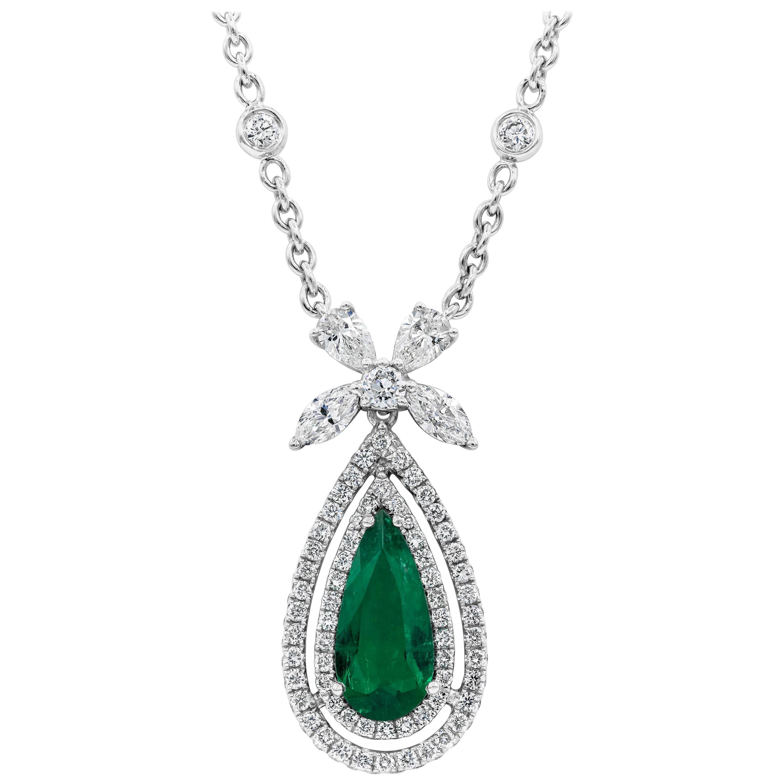 Roman Malakov, Pear Shape Colombian Emerald and Diamond Halo Pendant Necklace