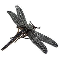 Antique French 18 Karat Gold Platinum and Gemstone Tremblant Dragonfly Brooch
