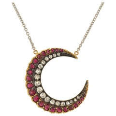 Victorian Burmese Ruby and Diamond Crescent Pendant Necklace