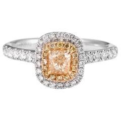 Natural Fancy Yellow Cushion Shape Diamond Engagement Fashion White Gold Ring