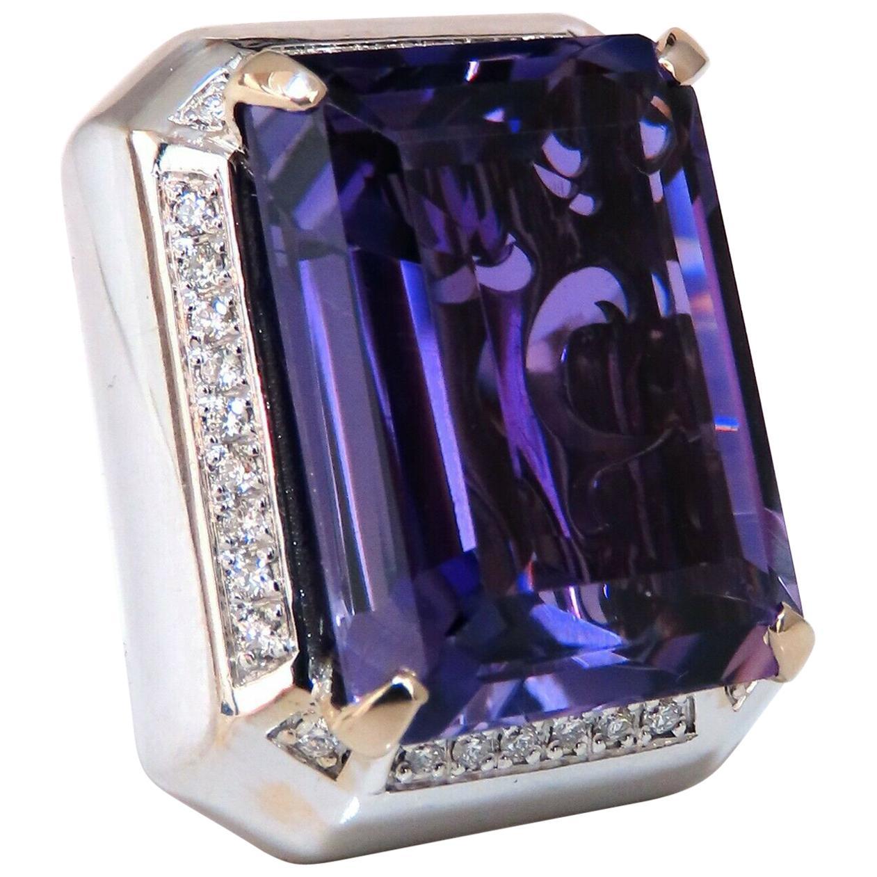 37.23 Carat Natural Amethyst Diamond Ring 18 Karat Cocktail Cluster