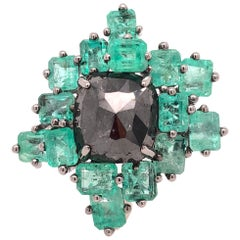 Ruchi New York Black Diamond and Emerald Cluster, Cocktail Ring