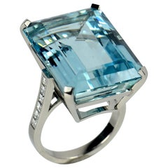 32.70 Carat Aquamarine and Diamond Cocktail Ring