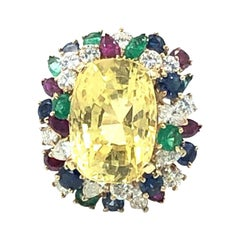 AGL Certified Natural No Heat Yellow Sapphire Ring, Oscar Heyman, 1960s