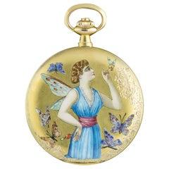 L Aiglon Vintage Pocket Watch 14k Gold & Enamel Champange Dial Manual Wind