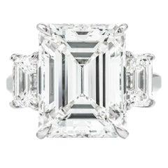 10.95 Carat Emerald Cut GIA Diamond Three-Stone Ring Platinum