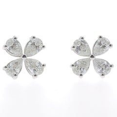 1.20 Carat Lucky Clover Diamond Earrings 18 Karat White Gold GVS