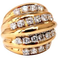 1.50 Carat Natural Diamonds Raised Dome Cocktail Cluster Ring 14 Karat