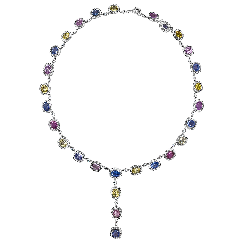 Multi-Color Sapphire and Diamond Halo Drop Necklace