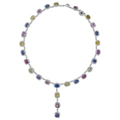 Multi-Color Sapphire and Diamond Halo Drop Necklace