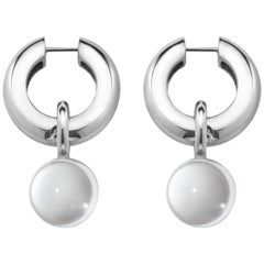 AGMES Sterling Silver Quartz Hinge Hoop Drop Earrings with Clear Crystal Bead