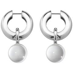Agmes Sterling Silver Hinge Hoop Drop Earrings with Clear Crystal Quartz Bead