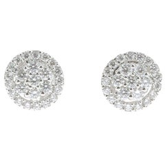 0.92 Carat Stud Diamond Earrings 18 Karat White Gold GVS