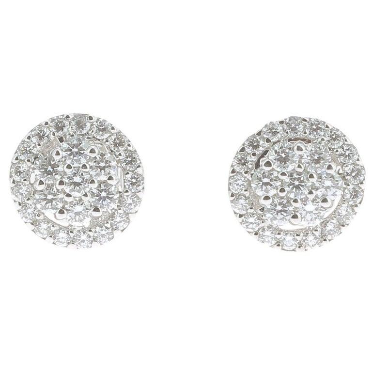 0.92 Carat Stud Diamond Earrings 18 Karat White Gold GVS For Sale