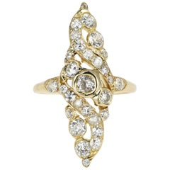 Victorian 18 Karat Yellow Gold 1.5 Carat Old European Cut Diamond Navette Ring