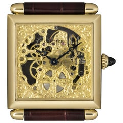 Cartier Tank Obus Skeleton Dial Limited Edition 2380C Manual Wind Wristwatch