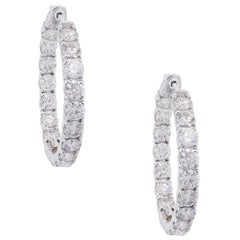 Round Brilliant Diamond Inside Out Hoop Earrings