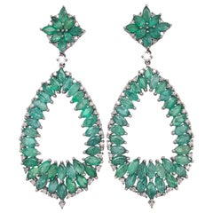 Ruchi New York Marquise Emerald and Diamond Chandelier Earrings