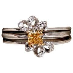 .58 Carat Natural Fancy Yellow Diamond Ring 14 Karat
