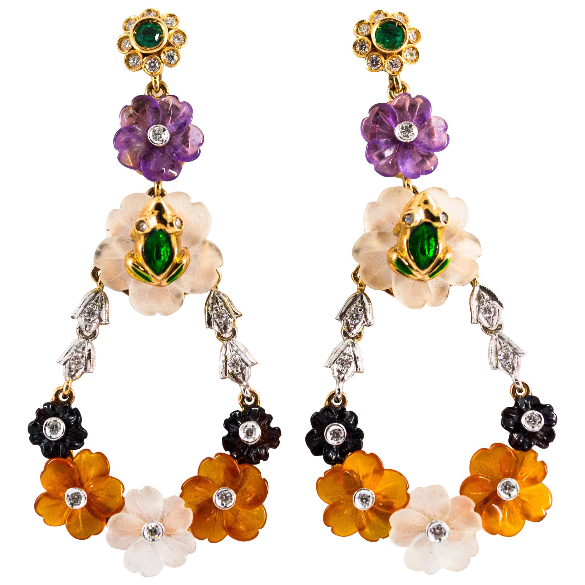 Art Nouveau Diamond Emerald Agate Amethyst Yellow Gold Flowers Drop Earrings